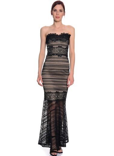 Lipsy Straplez Uzun Abiye Elbise Siyah